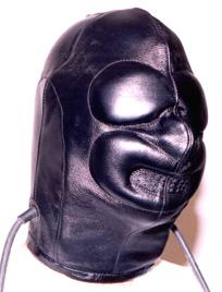Inflatable leather bondage hood