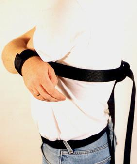 Nylon wrist restraints with built in tie