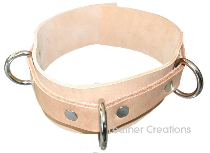Natural Leather Bondage Collar