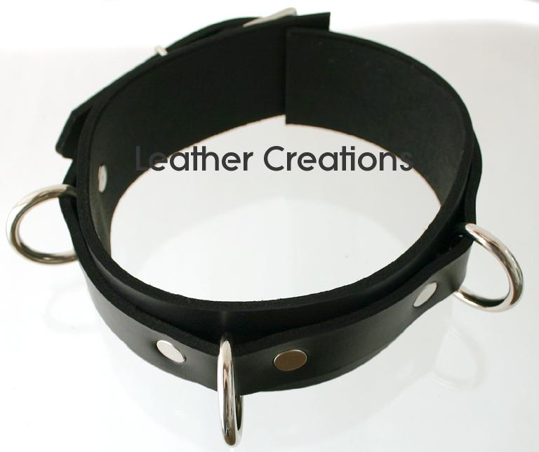Leather bondage collar