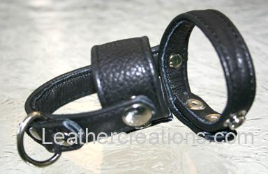 Garment leather cock ring with ball stretcher and separator